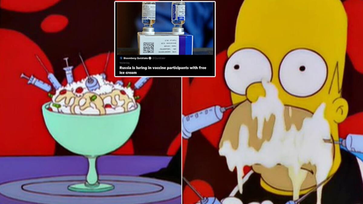 Simpsonlar, Rusya'nın dondurma teşvikli aşılama planını da önceden bildi