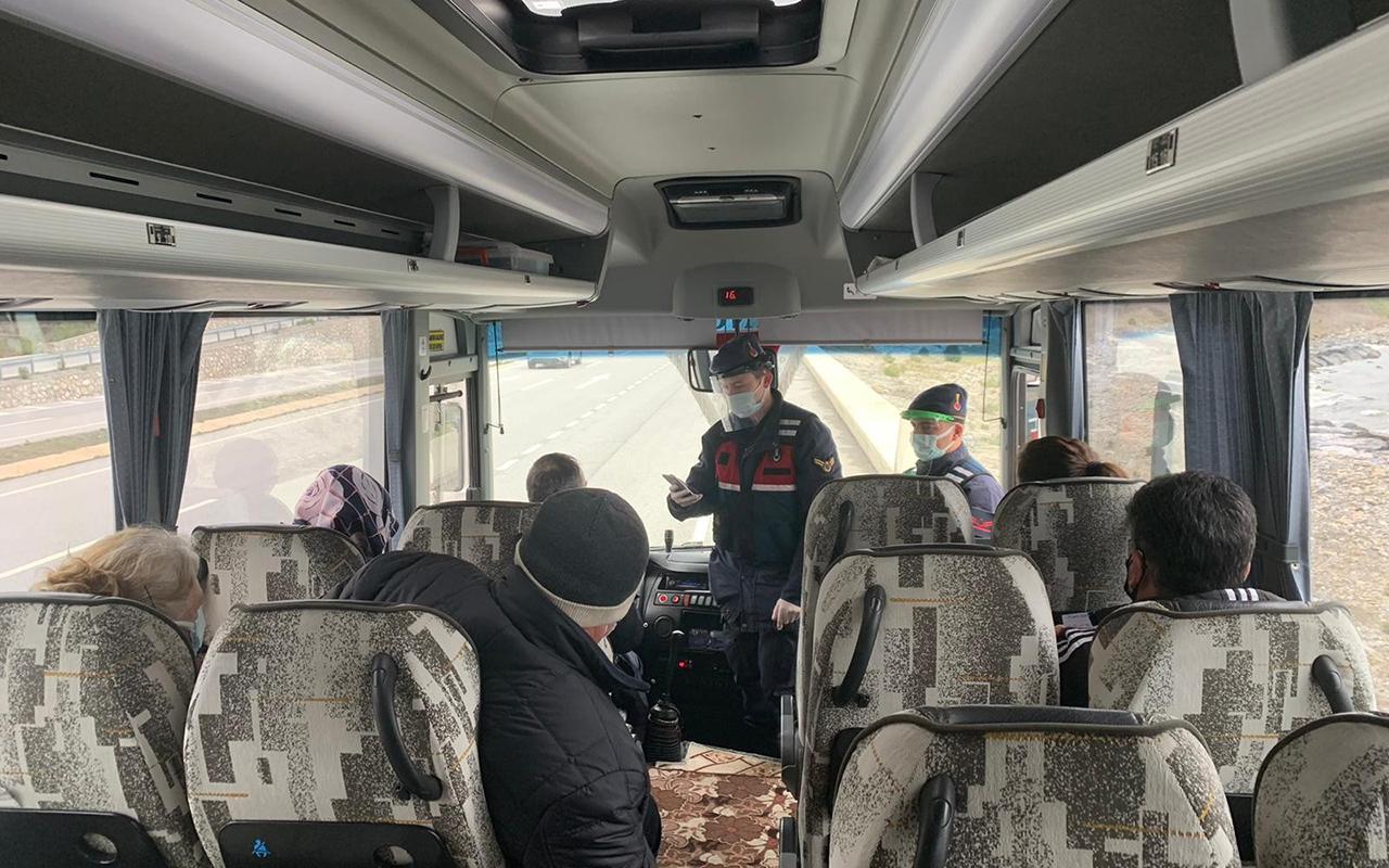 Testi pozitif çıkan kişi, yolcu otobüsünde yakalandı