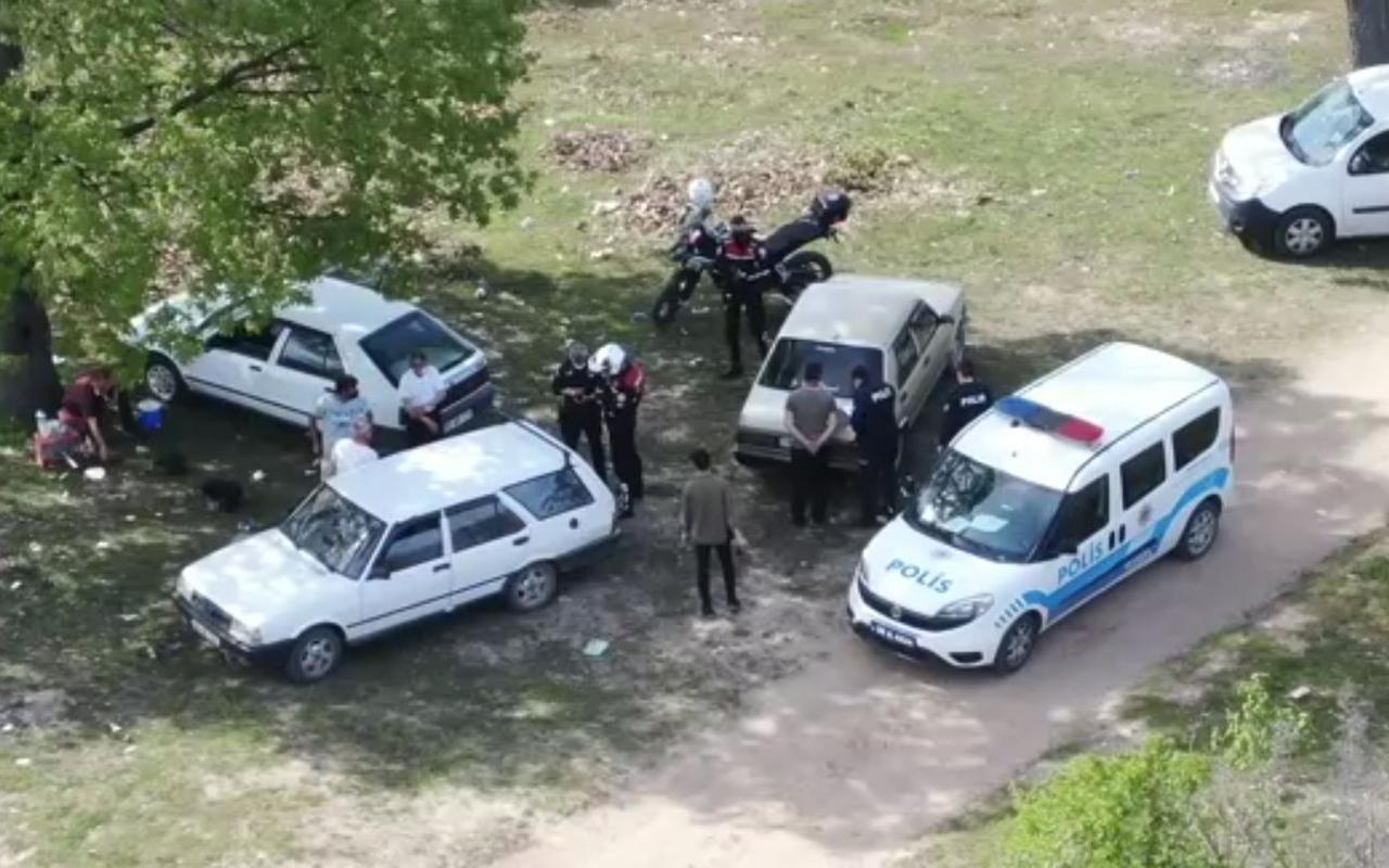 Kırklareli'de kapanmayı delip piknik yapanlar drone ile tespit edildi