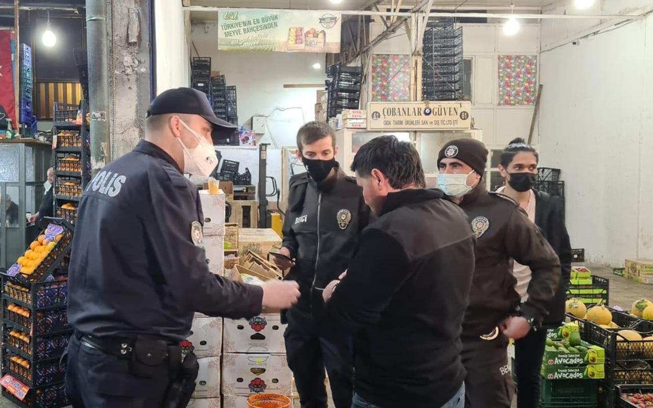 Ataşehir'de sebze halinde korona virüs kurallarına uymayanlara ceza yağdı