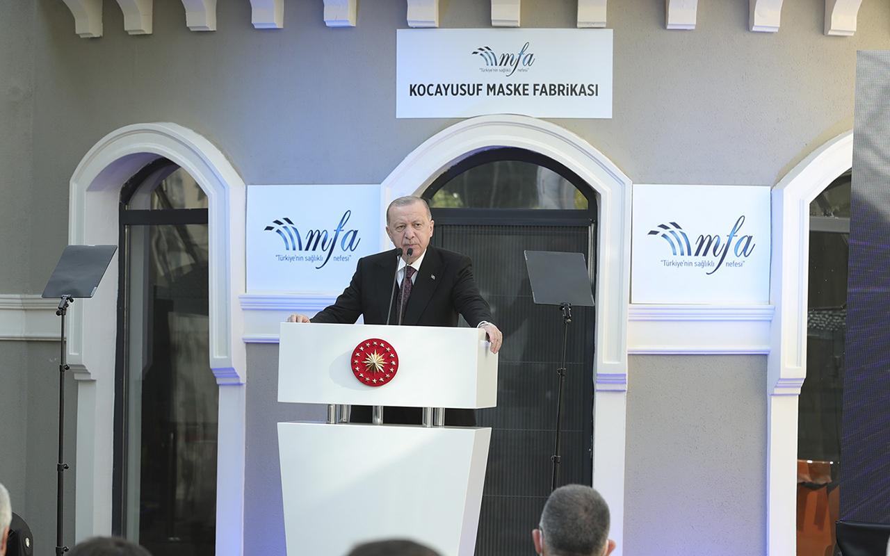 Cumhurbaşkanı Erdoğan maske fabrikası açılışında konuştu