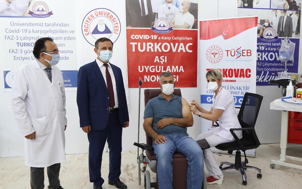 Yerli korona virüs aşısı TURKOVAC, geliştirildiği ERÜ'de gönüllülere uygulanıyor